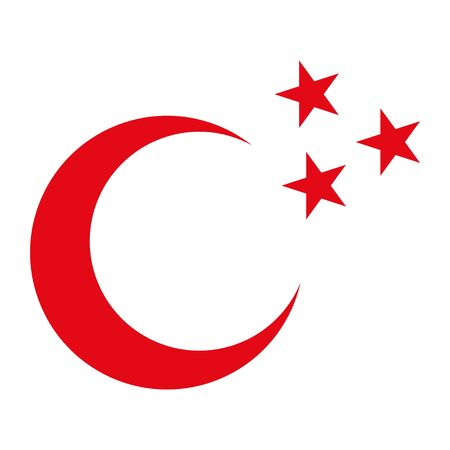 Crescent icon, flag flat symbol isolated on white background. Moon and star vector . 向量圖像