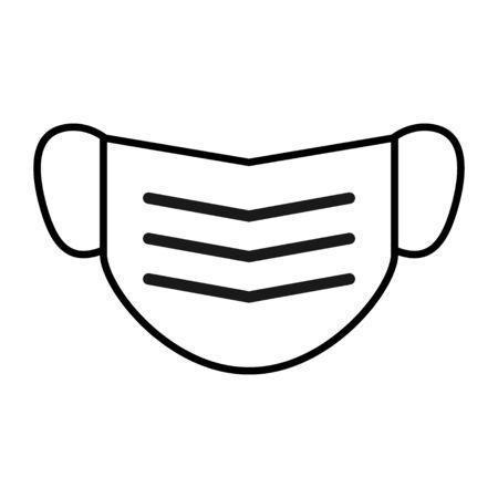 Mouth mask icon, safety breathing symbol isolated on white background, vector illustration .
