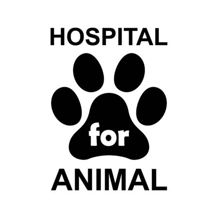 Hospital for Animal paw icon, dog, cat.. symbol for pet. Foot mark isolated on white background .