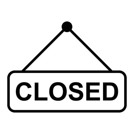 Closed the door icon isolated on white background. Market notice symbol .