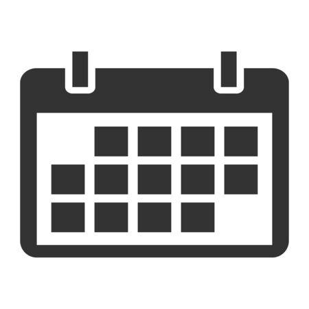 Calendar icon, date event symbol isolated on white background. Vector web button . Ilustración de vector