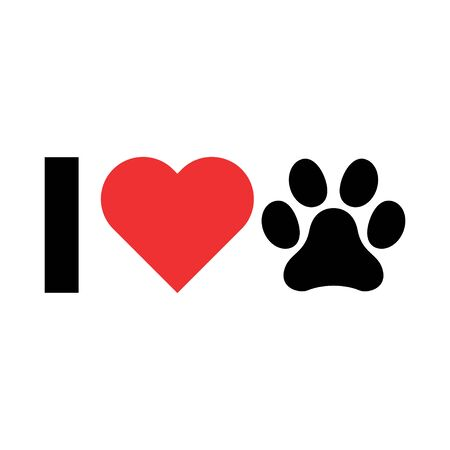 I love my dog icon, print symbol isoalted on white background. Cute graphic, vector illustration . Иллюстрация