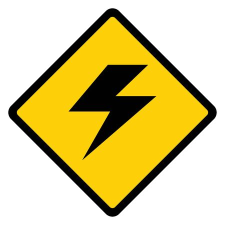 High voltage icon, danger vector symbol isolated on white background, web button .  イラスト・ベクター素材