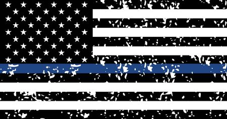 Black lives matter USA support flag, blue line textured symbol. Vector illustration sign, stop racism .