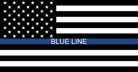 Black lives matter USA support flag,  blue line symbol. Vector illustration sign, stop racism . Ilustração