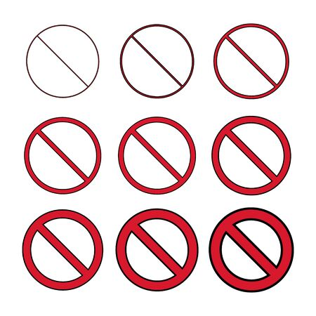 Flat Stop Icon isolated on white background. Modern vector illustration. Red no entry symbol set .