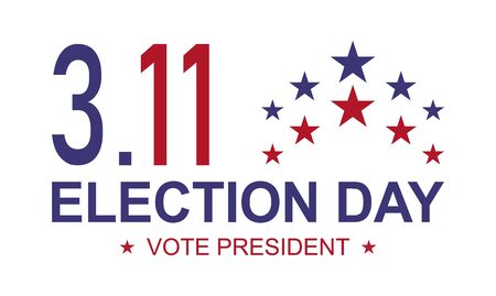 Vote president background, Election day for 3.11 2020 , USA government icon isolated on white backgroud . Foto de archivo - 150290657