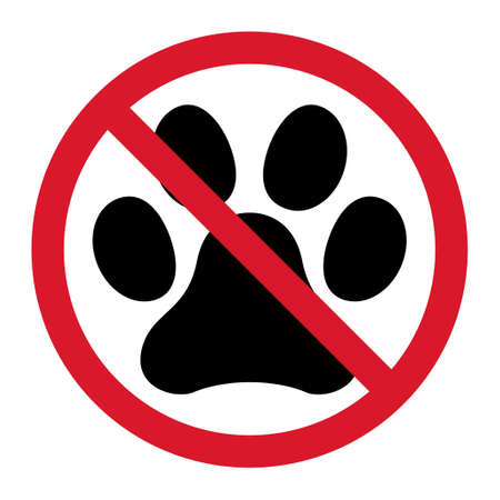 Animal STOP paw icon, dog, cat .. symbol for pet. Foot mark isolated on white background. Vettoriali