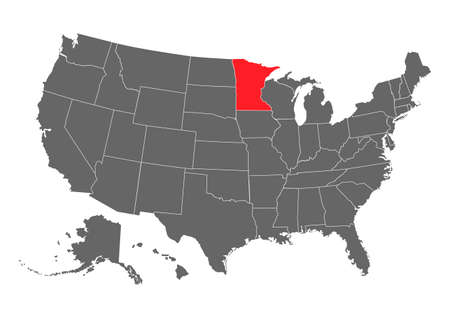 minnesota vector map. High detailed illustration. United state of America country.
