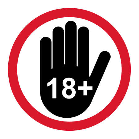 18+ restriction flat sign with hand isolated on white background. Age limit symbol. No under eighteen years warning illustration. Vettoriali