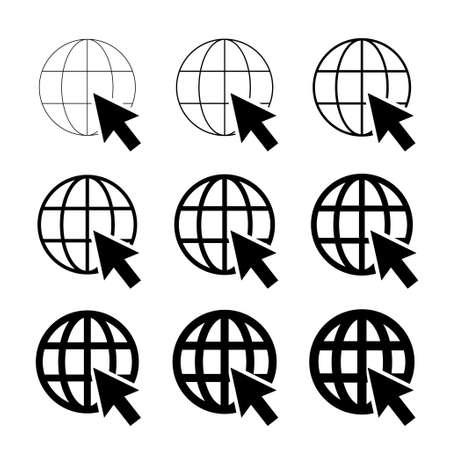 WWW world wide web set site symbol, Internet collection icon, website address globe, flat outline sign.