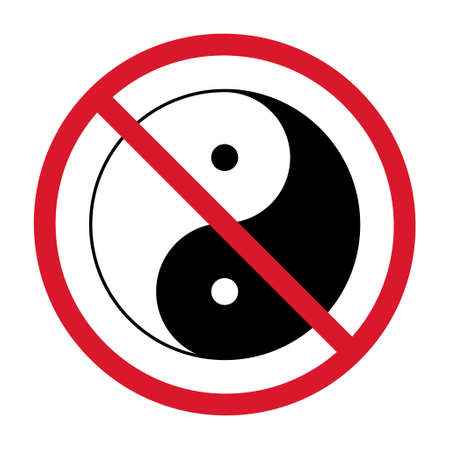 Yin yang symbol of harmony and balance, line icon isolated on white background. Japan culture style.