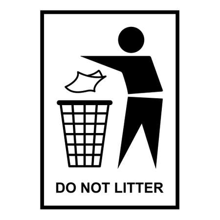 Do not litter flat icon isolated on white background. Keep it clean vector illustration. Tidy symbol. Иллюстрация
