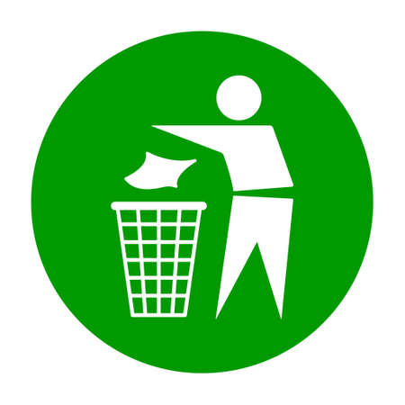 Do not litter flat icon in green circle isolated on white background. Keep it clean vector illustration. Tidy symbol. Vektorové ilustrace
