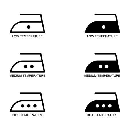 Iron collection flat icon isolated on white background. 3 ironing temperature levels symbol. Machine vector illustration.