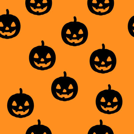 Halloween seamless pattern with happy pumpkin icon. Holiday october vector illustration. 矢量图像