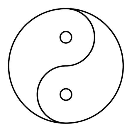 Yin yang symbol of harmony and balance, line icon isolated on white background. Japan culture style. Vector Illustration