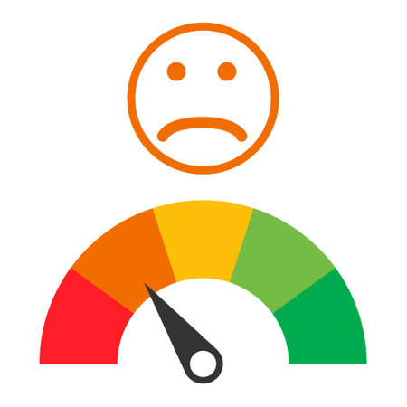 Customer icon emotions satisfaction meter with different symbol on white background. Illusztráció