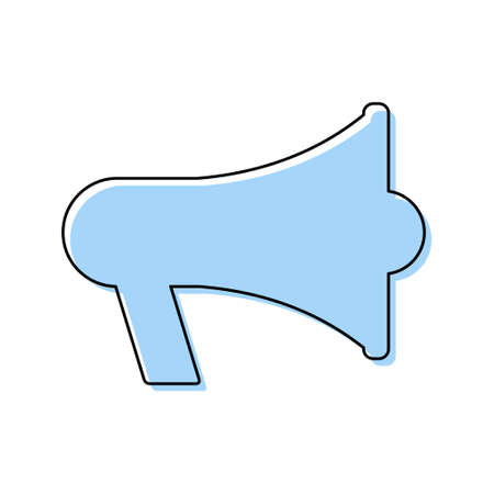 Megaphone blue flat icon isolated on white background. Speaker symbol. Loudspeaker vector illustration. 矢量图像