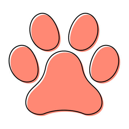 Animal paw icon, dog, cat .. symbol for pet. Foot mark isolated on white background.