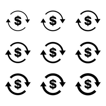 Set of dollar money icon, Collection of usd business sign, market economy vector illustration.