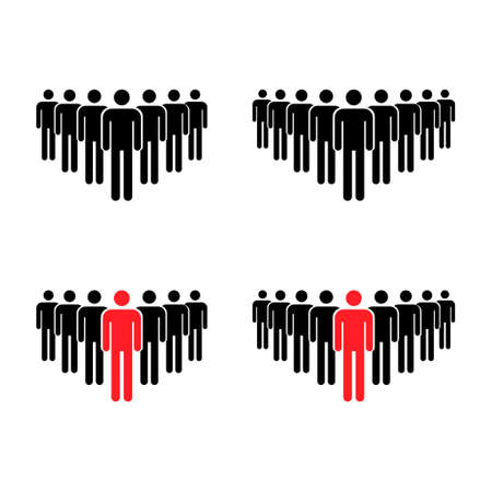 Grouping people collection flat icon isolated on white background. Teamwork symbol. Leadership vector illustration set.