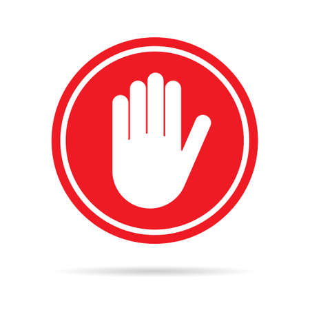 Stop icon with alert hand, warning covid symbol, no - danger isolated on white background vector illustration.