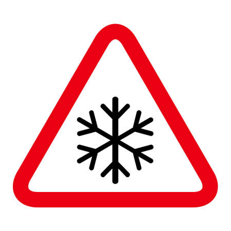 Snow winter icon, danger ice flake sign, risk alert vector illustration, careful caution symbol.