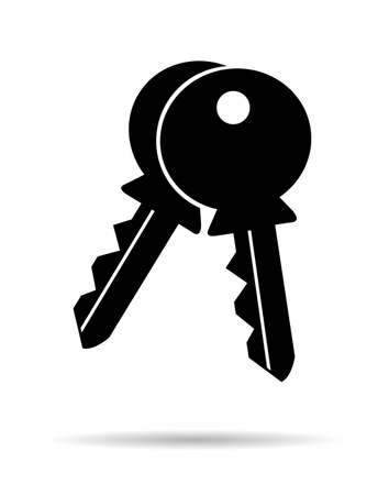 Web key icon with shadow, Lock symbol isolated on white background, house protection for web, website. 矢量图像