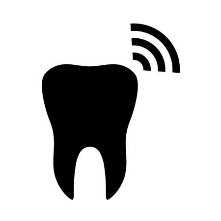 Tooth and wifi flat icon isolated on white background. Tooth vector illustration. Dentistry symbol. Dentistry.