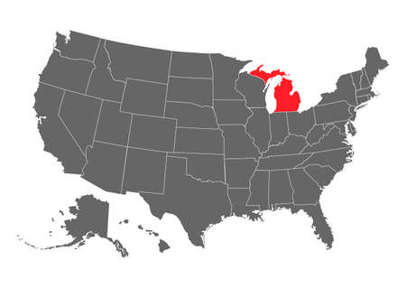 Michigan vector map. High detailed illustration. United state of America country. 矢量图像