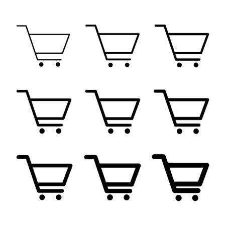 Set of shopping cart sale icon, market story shop vector illustration symbol isolated on white background.