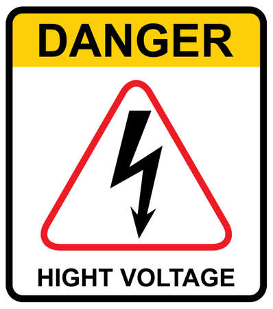 High voltage icon, danger vector symbol isolated on white background, web button.