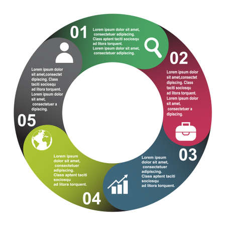 5 steps vector element in five colors with labels, infographic diagram. Business concept of 5 steps or options with empty.