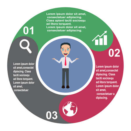 3 step vector element in three colors with labels, infographic diagram. Business concept of 3 steps or options with businessman. Иллюстрация