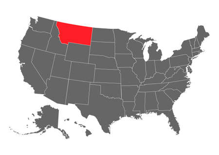 Montana vector map. High detailed illustration. United state of America country.