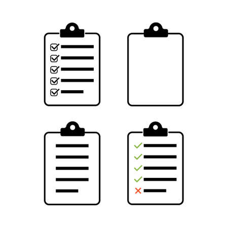 Check list, checklist set flat web icon isolated white background. Mark symbol, document collection test, vector illustration. 向量圖像