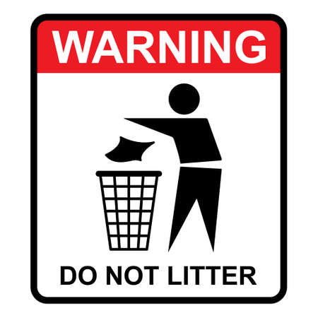 Do not litter warning flat icon isolated on white background. Keep it clean vector illustration. Tidy symbol.