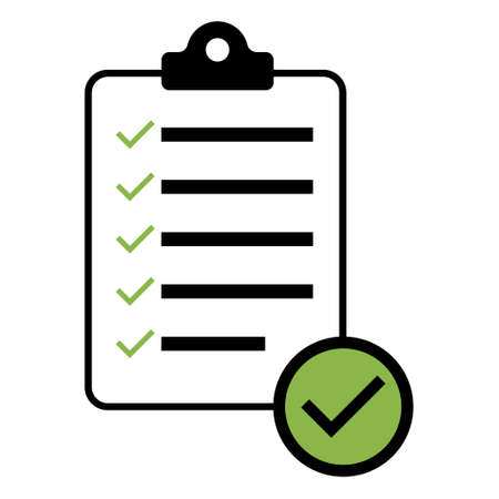 Check list, checklist flat web icon isolated on white background. Mark symbol, document report test, vector illustration.