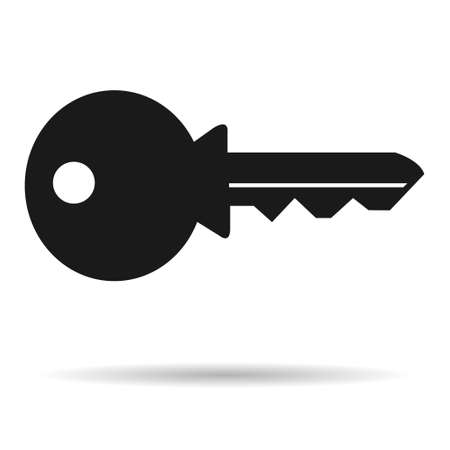 Web key icon with shadow, Lock symbol isolated on white background, house protection for web, website.