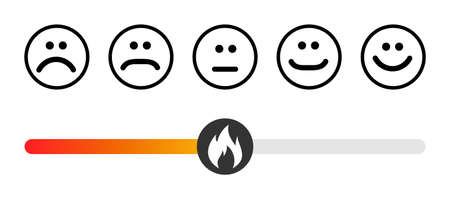 Customer icon emotions satisfaction meter with different symbol on white background. 向量圖像