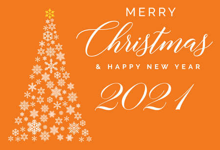 Merry Christmas and Happy New Year 2021 lettering template. Greeting card or invitation. Winter holidays related typograph. 矢量图像