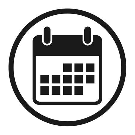 Calendar icon, date event symbol isolated on white background. Vector web button. 矢量图像