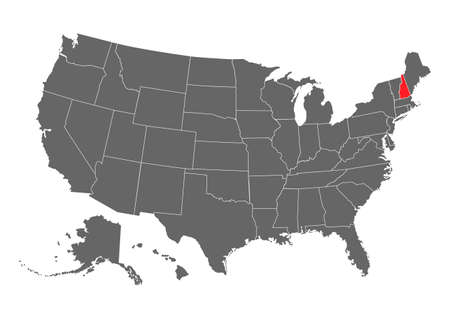 New Hampshire vector map. High detailed illustration. United state of America country. 矢量图像