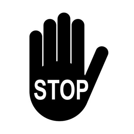 Stop icon with alert hand, no - danger isolated on white background vector illustration.