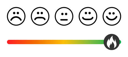Customer icon emotions satisfaction meter with different symbol on white background. 矢量图像