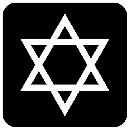David star icon, israel symbol of religion judaism. Hexagram Jerusalem symbol. Biblical flat seal.