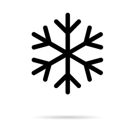Snow winter icon, danger ice flake sign, risk alert vector illustration, careful caution symbol. 矢量图像