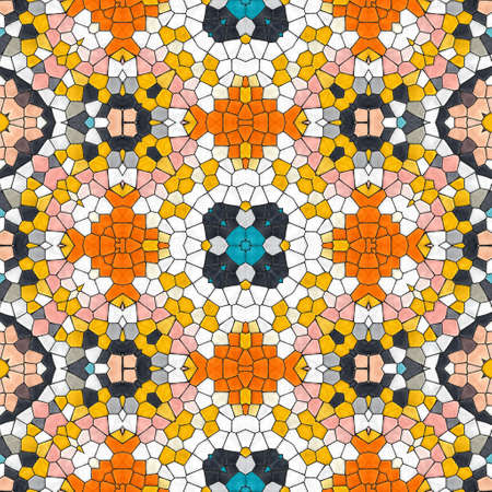Pattern mosaic kaleidoscopic seamless generated texture, ornament, fragile, fractal, material, abstract render background. Banque d'images