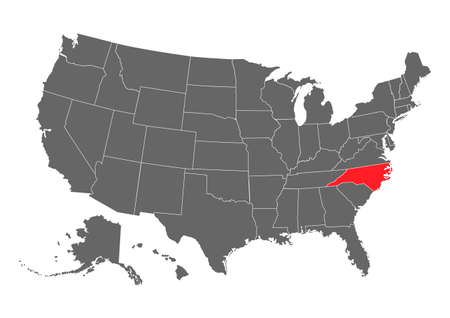North Carolina vector map. High detailed illustration. United state of America country.